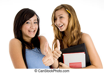 laughing students showing thumbs up with bag and books on an...