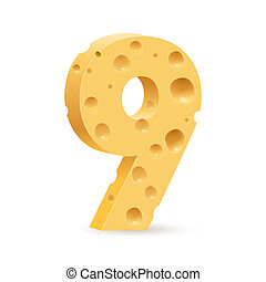 Digit of cheese - Number nine. Illustration on white for...