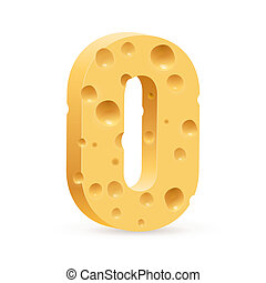 Digit of cheese - Number zero of cheese Illustration on...