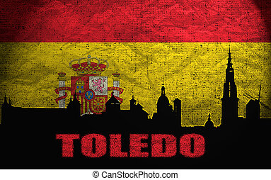 View of Toledo on the Grunge Spanish Flag
