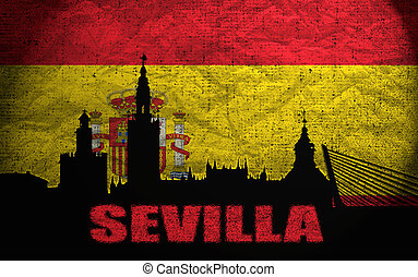 View of Sevilla on the Grunge Spanish Flag