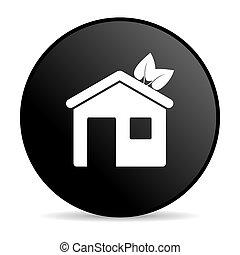 hogar, negro, círculo, tela, brillante, icono