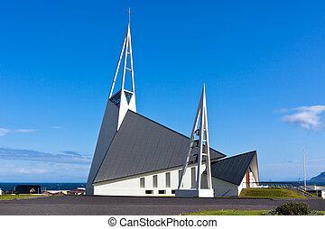 藍色, 冰島, 現代, 天空, 明亮, 背景, 教堂