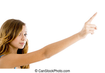 beautiful girl pointing with her finger on an isolated white...