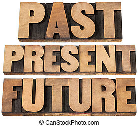 past, present, future - a collage of isolated words in...