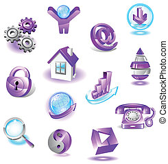 Set of violet web icons
