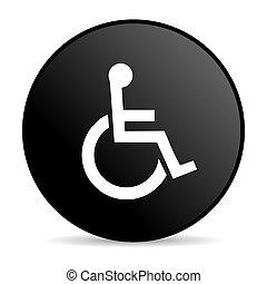 accesibilidad, negro, círculo, tela, brillante, icono