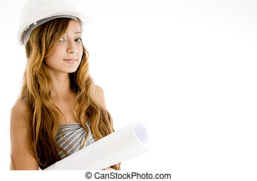 beautiful young architect wearing helmet and with blueprints
