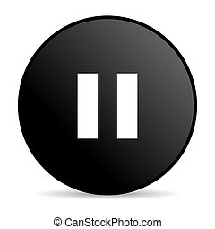 pause black circle web glossy icon
