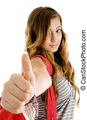 young woman showing goodluck sign - young woman showing good...