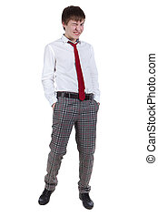 Funny geek in checkered pants