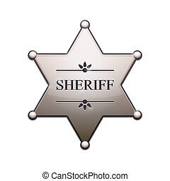 Sheriff Star with shadow isolated on white