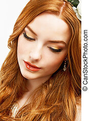 Wellness. Face of Serene Golden Hair Girl with Smooth Clean Healthy Skin. Natural Makeup