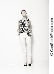 Glamour Fashion Model in Modern White Trousers and Shirt...