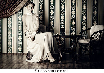 aristocracy - Charming fashionable model posing in the...