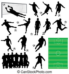 soccer players - vector set of soccer players