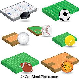 sport fields - vector set of sport fields