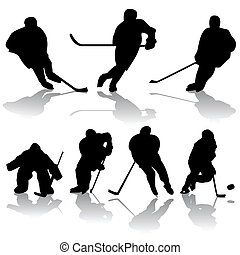 ice hockey players - vector set of ice hockey players