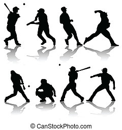 baseball players - vector set of baseball players