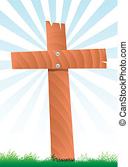 wooden cross - vector illustration of a wooden cross