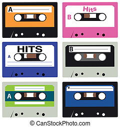 casette collection - vector set of vintage casettes