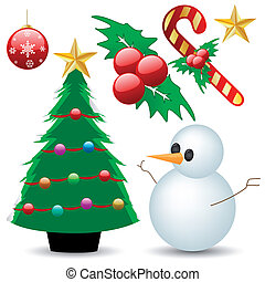 christmas ornaments - vector set of various christmas...