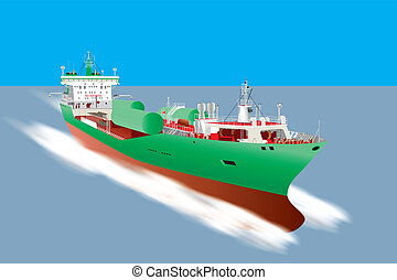 Gas Tanker Ship - A detailed illustration of a Cargo Ship...