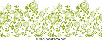 Underwater abstract plants horizontal seamless pattern background