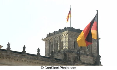 Berlin Reichstag Flag - German Reichstag in Berlin with...