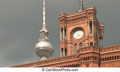Television Tower Berlin - Television Tower behind the red...