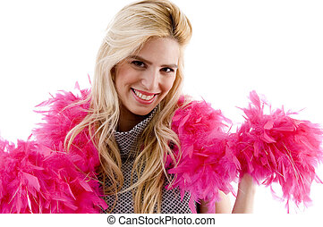 front view of happy model wearing fur stole - front view of...