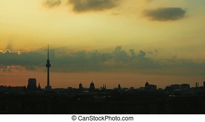 Sunrise Berlin Skyline - Timelapse of a sunrise over the...