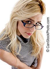 high angle view of woman wearing eyeglasses - high angle...