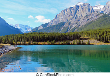 Mount Rundle and Grassi Lakes - View of Mount Rundle and...