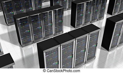 Network servers in datacenter - Moving rows of network...
