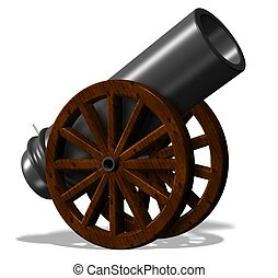 Cannon - 3d illustration of black antique cannon with wooden...
