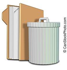Folder and rubbish bin - 3d illustration of a rubbish bin...