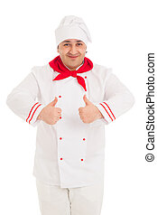 Portrait Of Chef Showing Thumb Up Sign with both hands...