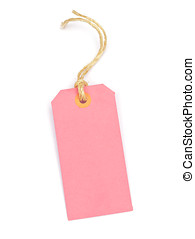 pink tag - Pink cardboard tag on a white background
