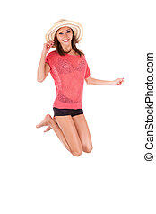 Young beautiful asian woman jumping of joy - Asian people -...