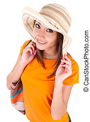 Portrait of a young beautiful asian woman in summer clothes...