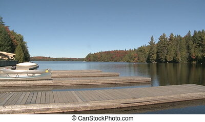 Lake in Fall - Lake at Algonquin Park with Footbrige to the...
