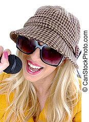 frente, micrófono, mujer, canto, vista