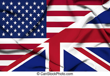 United States of America and United Kingdom waving flag