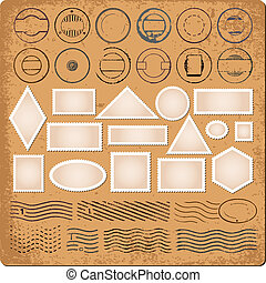 Blank borders grunge rubber stamps - Set of blank borders...
