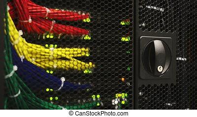 Servers full of data blinking