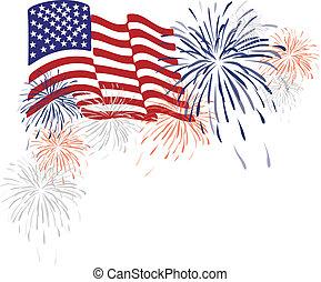 americano, EUA, bandeira, fogos artifício