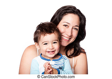 Mother and baby toddler son - Beautiful happy mother and...