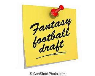 fantasía, fútbol, bosquejo, blanco, Plano de...