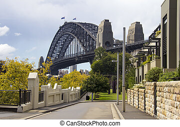 Sydney Harbour Bridge from street